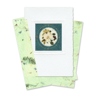 Green Circle-Framed Larkspur Card Image