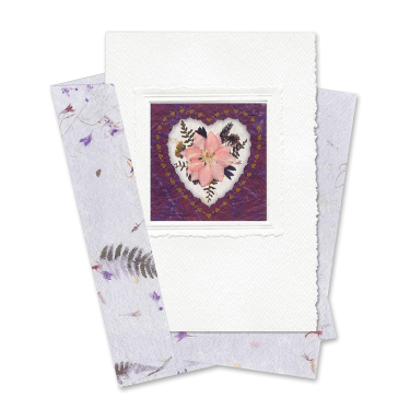 Maroon Heart-Framed Larkspur Card Image