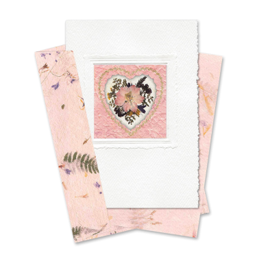Pink Heart-Framed Larkspur Card Image