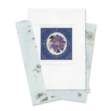 Indigo Circle-Framed Larkspur Card Image