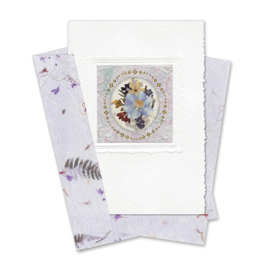 Lilac Circle-Framed Larkspur Card Image