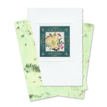 Green Square-Framed Viola Scripture Card Image