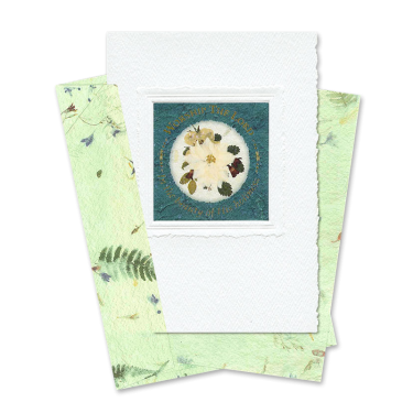 Green Circle-Framed Larkspur Scripture Card Image
