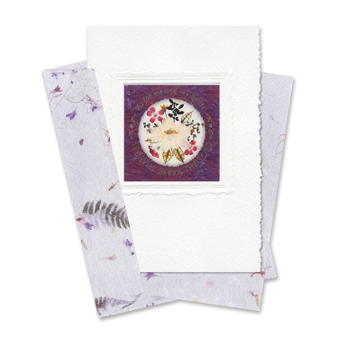 Maroon Circle-Framed Larkspur Scripture Card Image