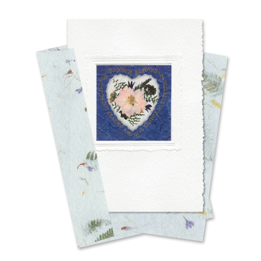 Indigo Heart-Framed Larkspur Scripture Card Image