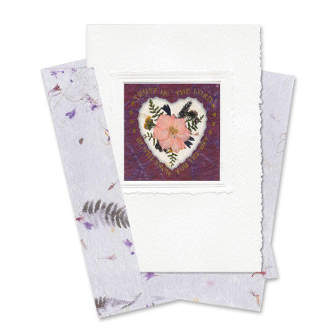 Maroon Heart-Framed Larkspur Scripture Card Image