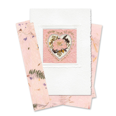Pink Heart-Framed Larkspur Scripture Card Image