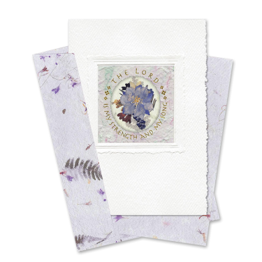 Lilac Oval-Framed Larkspur Scripture Card