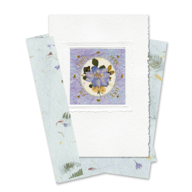 Purple Circle-Framed Larkspur Scripture Card Image