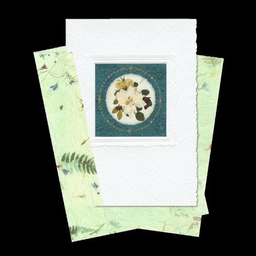 Green Circle-Framed Larkspur Card Image