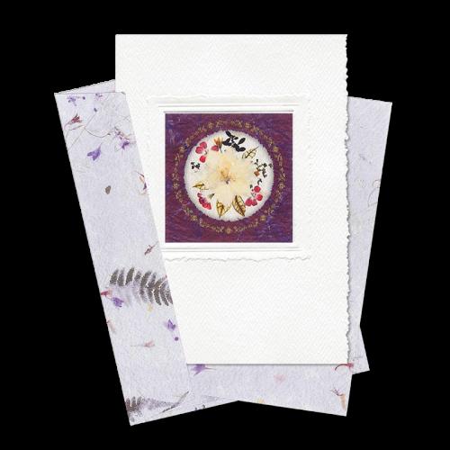 Maroon Circle-Framed Larkspur Card Image
