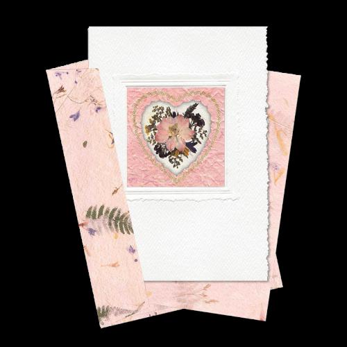 Pink Heart-Framed Larkspur Card Image