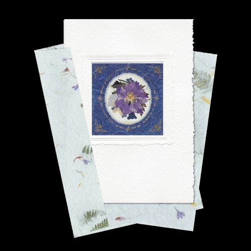 Indigo Circle-Framed Larkspur Card Image