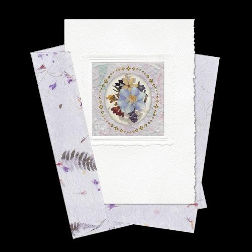 Lilac Circle-Framed Larkspur Card Image